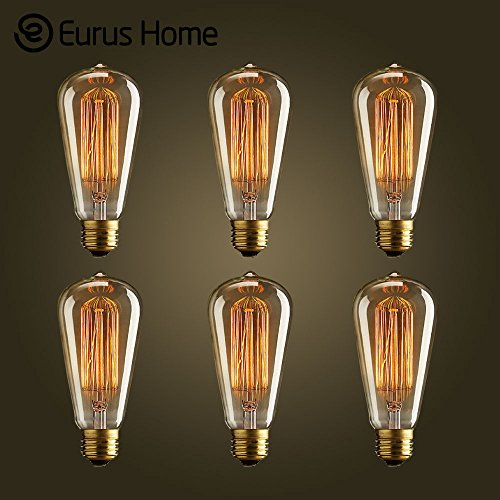 Eurus Home Vintage Edison 40W 110V E26 Base Squirrel Cage Filament Incandescent Light Bulb, Warm Light Dimmable, Pack of 6