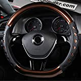 Amuahua D-Shaped Genuine Leather Car Steering Wheel Cover Universal 15 inch/38CM Breathable for Auto/Truck/SUV/Van (Coffee)