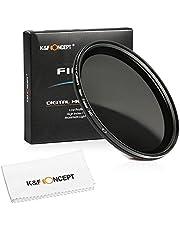 49MM Variable ND Filter, K&F Concept Neutral Density Adjustable ND ND16 ND8 ND4 ND2 to ND400 Lens Filter for NEX-3 NEX-5 NEX-6 NEX-7 Digital SLR Cameras Lenses + Cleaning Cloth + Filter Box