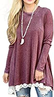 Women Casual Long Sleeve Round Neck Shirts Loose Pockets Pullover Blouse Tunic Tops