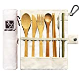 Bamboo Utensils | Eco Friendly Flatware Set | Bamboo Cutlery Set | Bamboo Travel Utensils|Camping Utensils Set | Portable Utensils Set|Knife, Fork, Spoon, Reusable Straws Chopsticks | 7 Pieces,7.9 in