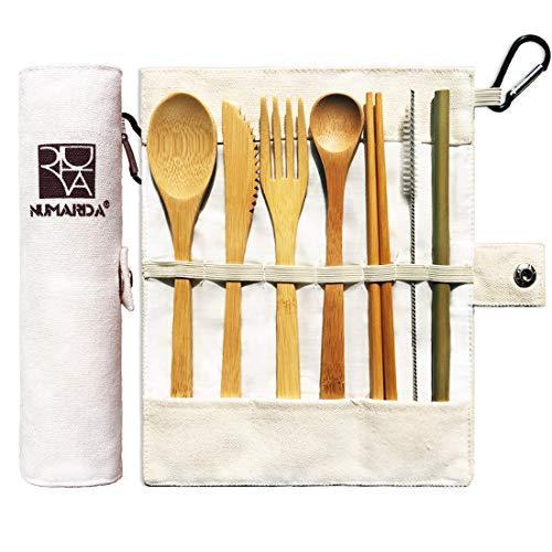 Bamboo Utensils   Eco Friendly Flatware Set   Bamboo Cutlery Set   Bamboo Travel Utensils Camping Utensils Set   Portable Utensils Set Knife, Fork, Spoon, Reusable Straws Chopsticks   7 Pieces,7.9 in