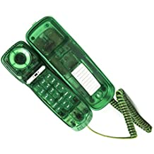 Trimline Corded Phone - Caller ID - Retro Novelty Telephone - Emerald Green -Three Language display, English, French, and Spanish - See Through Trimline Phone – 1960's Styling