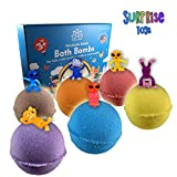 Organic Handmade Bath Bombs with SURPRISE TOYS INSIDE for Kids – Natural and Safe Bombs with Essential Oils – with Toys Inside – Great Gift Set for Boys and Girls – 6 x 5 OZ