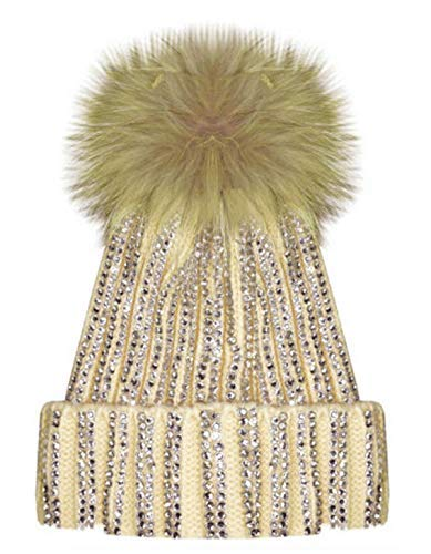 dec4659f231 X17 Celebmodelook New Ribbed Studded Diamante Diamond Beanie Hat Fur Bobble  Pom Pom Fleece Inner Lining Ski Hat.  Amazon.co.uk  Clothing