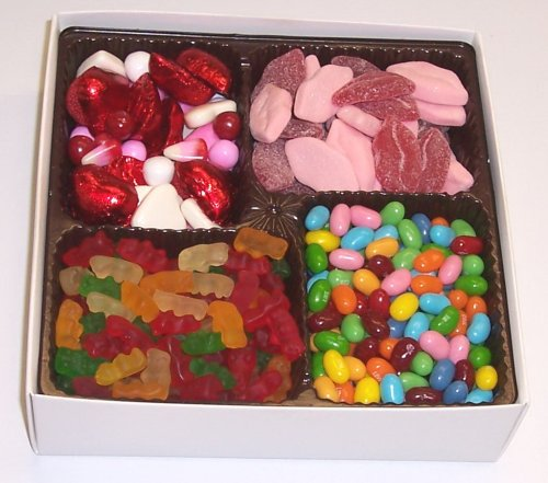 Scott's Cakes Large 4-Pack Smoochie Lips, Valentine Mix, Conversation Beans, & Gummie Bears