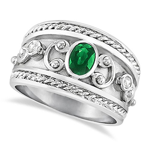 Byzantine White Gold Ring (0.73ct Antique Style Oval Shaped Green Emerald and Diamond Accented Byzantine Ring 14k White Gold)