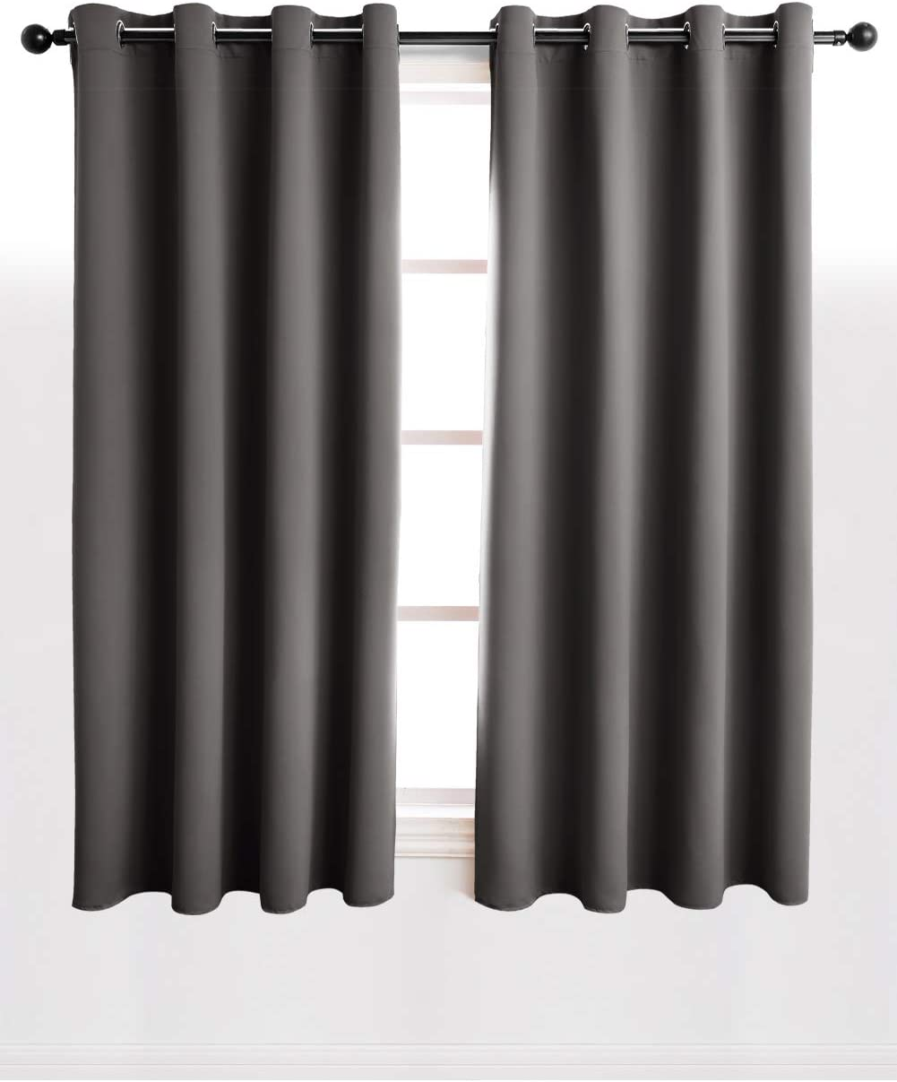 Kinryb Blackout Curtains Panels with Grommets , Room Darkening Thermal Insulated Drapes for Living Room and Bedroom (Set of 2 Panels , 52 by 45 Inches , Grey)