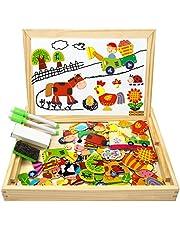 Flyfun Puzzles Rompecabezas Magnéticos de Madera Juguete Educativo Tablero de Dibujo de Doble Cara para Niños Niña 3 Años 4 Años 5 Años - Acerca de 100 Piezas (Granja)