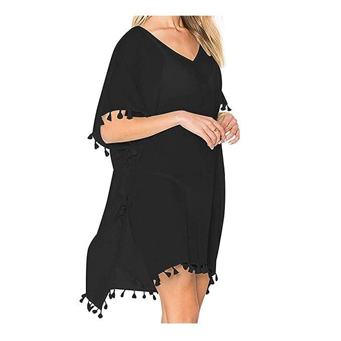 8e6e649e4f5f4 FORTULY Womens Cover up Bohemia Tassel Swimsuit Beachwear Bikini Dress …  (Black)