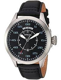 Men's Aviator Stainless Steel Quartz Watch with Leather Calfskin Strap, Black, 21 (Model: 22972)