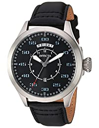 Invicta Men's 'Aviator' Quartz Stainless Steel and Leather Casual Watch, Color:Black (Model: 22972)
