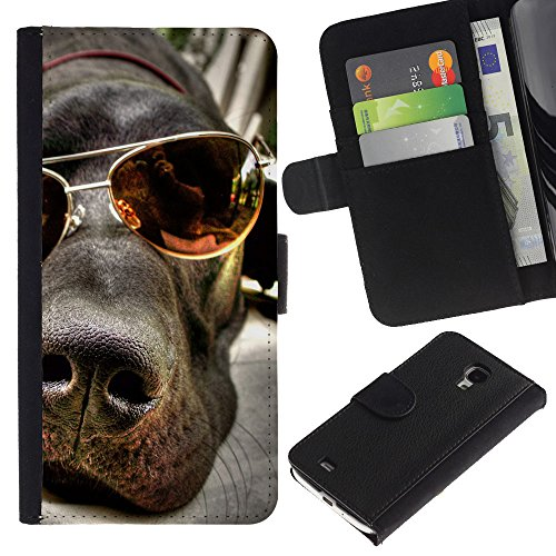 EuroCase - Samsung Galaxy S4 Mini i9190 MINI VERSION! - great Dane summer sunglasses Labrador - Cuero PU Delgado caso cubierta Shell Armor Funda Case Cover