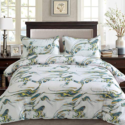 (MIMONG Duvet Cover Set with Zipper Closure&4 Corner Ties- Printed Romantic Starry Sky Pattern,Full/Queen 90