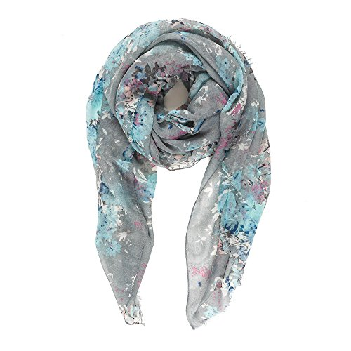 Linen Blend Scarf - Scarf for Women Lightweight Fashion Fall Winter Gray Grey Floral Flower Scarves Shawl Wraps by Melifluos (P077-4)