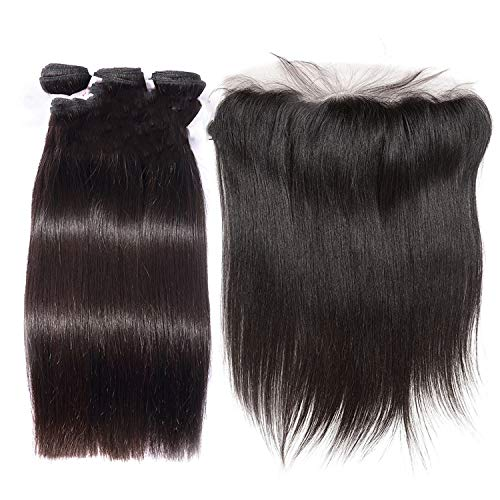 Straight Human Hair Bundles Remy Hair Extension 4 Bundles With Closure Brazilian Hair Weave 3 Bundles With Lace Frontal,10 10 10 & Closure10 ()