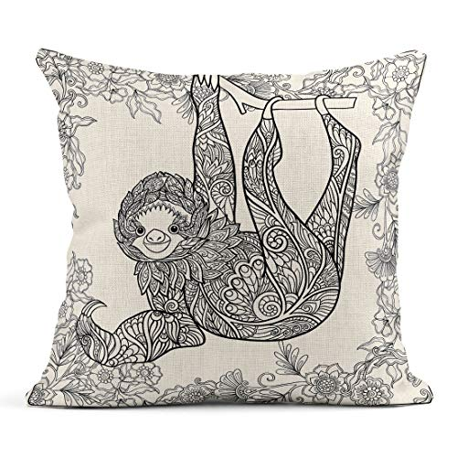 Semtomn Decor Flax Throw Pillow Covers Case Coloring Page Lovely Sloth in Forest Book for Adult 20