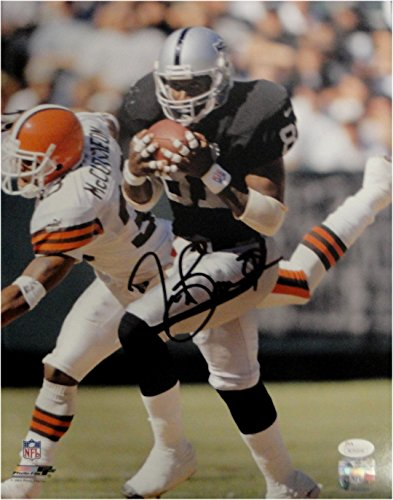 Tim Brown Hand Signed Autographed 11x14 Photo Running in Pocket Raiders JSA COA Hand Signed 11x14 Photo