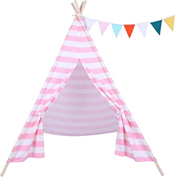 small boy Stripe Canvas Play Teepee Tent for Kids 100/% Cotton White