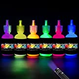 [6 Bottles, 1 oz. Each] UV Body Paint Glow Blacklight Reactive Neon Fluorescent Paint - Safe For Skin - Washable - Non-Toxic - Six Colors Kit