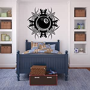 Pool bola 8 pegatina arte de pared 70 01 - 50cm Altura - 50cm Ancho - Negro Vinilo