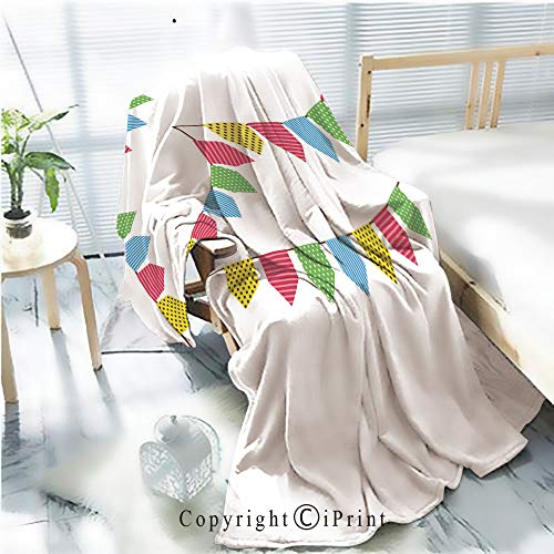 Printed Soft Blanket Premium Blanket,Colorful Bunting Flag Microfiber Aqua Blanket for Couch Bed Living Room,W59.1 xH78.7