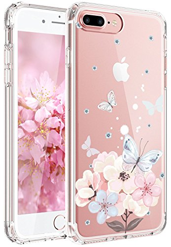 iPhone 7 Case,iPhone 8 Case,JAHOLAN Girl Floral Clear TPU Soft Slim Flexible Silicone Cover Phone case for Apple iPhone 7/iPhone 8 - Light Pink Butterfly Flower (Flowers Pink Cover)