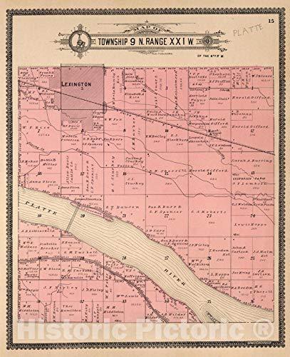 Historic Map   Dawson County Nebraska, County Atlas Map, Township 9 N. Range XXI W. 1904   Vintage Wall Art   36in x 44in