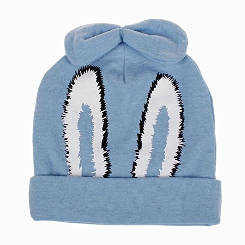 Foncircle Cute Baby Children Cartoon Rabbit Bowknot Cap Warm Winter Hats Knitted Beanie Wool Hemming (SKY BLUE)