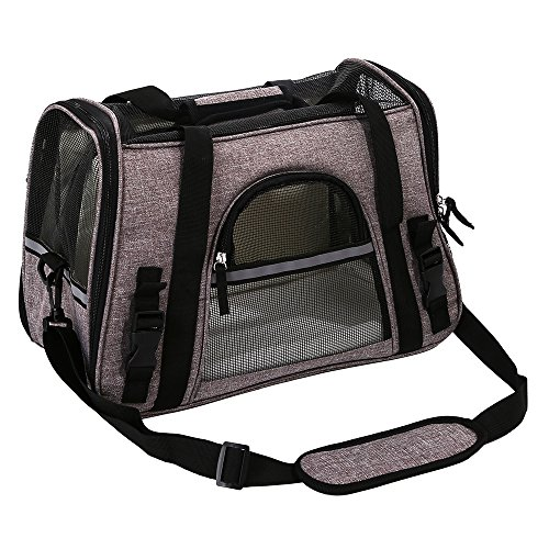 Pet Travel Carrier Airline Approved Premium Under Seat Dogs Cats - Soft Sided Pet Carrier Tote Bag Backpack Fleece Bed & Safety Lock(Grey) by okdeals (Image #6)