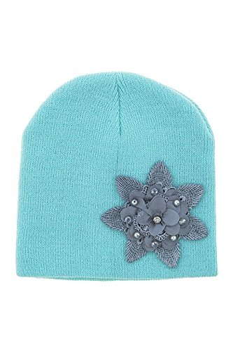 Weiss Costume Jewelry (TRENDY FASHION JEWELRY LACEY FLOWER ACCENT KIDS BEANIE BY FASHION DESTINATION | (Mint))