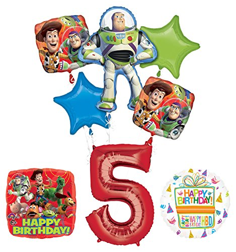 - Toy Story 5th Birthday Party Supplies and Balloon Bouquet Decorations