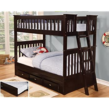 Amazon Com Twin Over Full Bunk Bed With 3 Drawers Desk Hutch