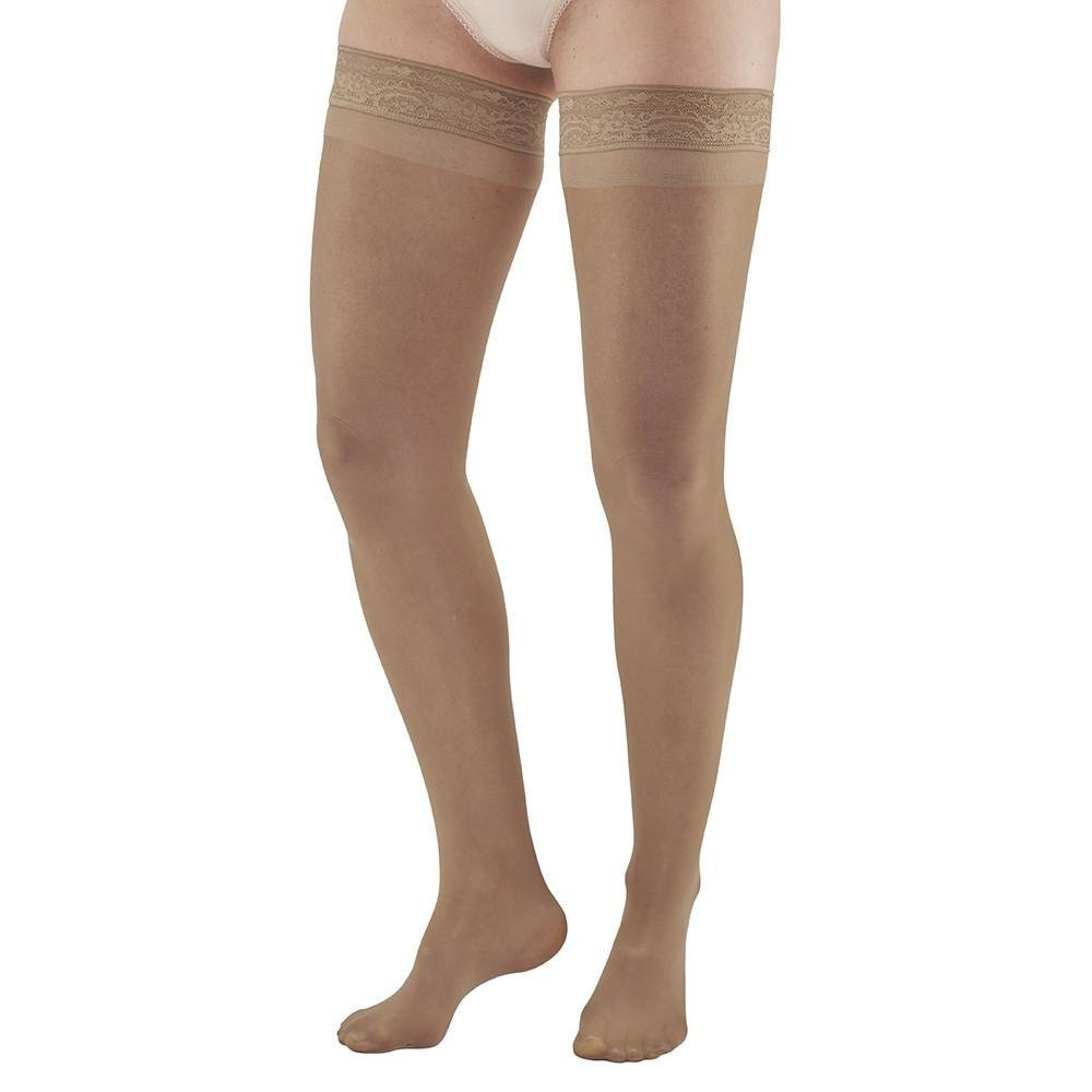 Ames Walker Women's AW Style 74 Soft Sheer Compression Thigh High Stockings w/Lace Band - 8-15 mmHg Natural Medium 74-M-NATURAL Nylon/Spandex