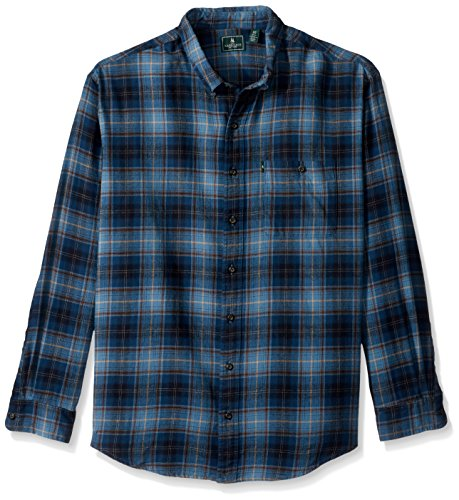 G.H. Bass & Co. Men's Big and Tall Fireside Flannels Long Sleeve Button Down Shirt, Blue Wing Teal 3X-Large