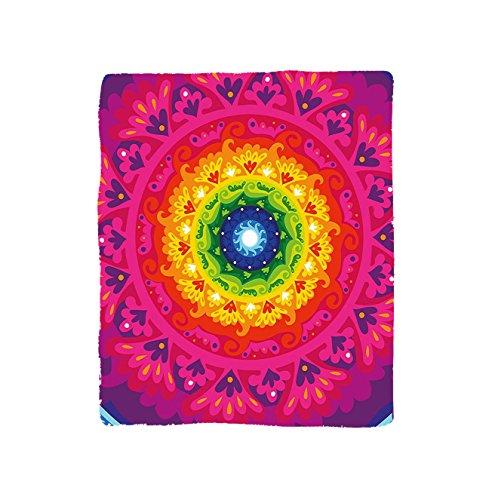 VROSELV Custom Blanket Purple Mandala Hippie Circular Rainbow Spiral inside Ethnic Asian Figure Hipster Artwork Bedroom Living Room Dorm Multicolor