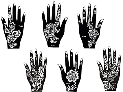Kit henna de 6 plantillas Set con 6 diseños de Henna de un ú
