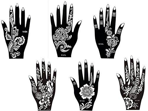 6 Feuilles Mehndi Tatouage Pochoir pour la main Hand 6 Mehndi Tatouages au henné Set 4 à usage unique - pour tatouage au henné, tatouage paillettes et aérographe tatouage Beyond