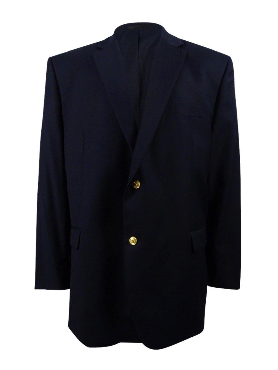 Ralph Lauren Mens 2B Solid Navy Blue Wool Sport Coat Blazer- Size Portly 50L