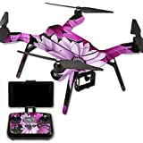 MightySkins Protective Vinyl Skin Decal for 3DR Solo Drone Quadcopter wrap cover sticker skins Purple Flowers