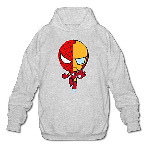 (OOONG Men's Iron And Spider Pullover Hoodie Ash Small)