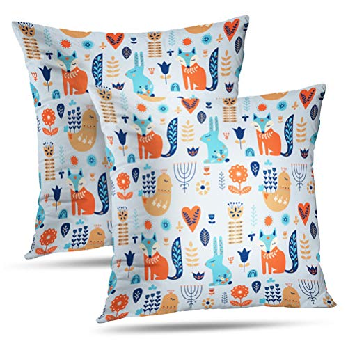 (Hdmly Fox Floral Decorative Throw Pillow Cover Cushion Covers Ornaments Folk Art Forest Animal and Flower Bird Fox Set of 2 Throw Square Pillowcase for Home Decor Couch Sofa 18