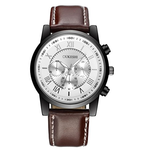 (Men's Quartz Watch,Balakie Retro Faux Leather Band Watch Analog Alloy Quartz Business Wrist Watch Chronograph (Coffee band+white face, alloy))