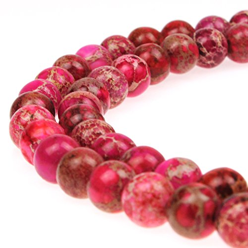 JarTc Natural Stone 6 Colors Sea Sediment Imperial Jasper Round Loose Beads for Jewelry Making (8mm, Rose red)