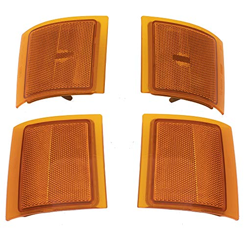 (BROCK Lower & Upper Signal 4 Piece Side Marker Lamp Set fits Chevy Pickup Truck SUV w/Composite Headlamps Replaces 5977737 5977738 5977459)