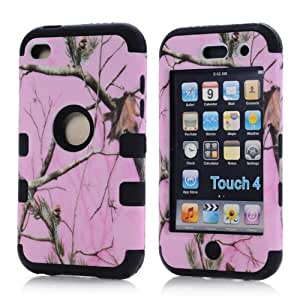 SHHR-ZW26N Luxury 3 in 1 Hybrid Tree Pattern Cover Case for iPod Touch 4th Generation-Black Silicone