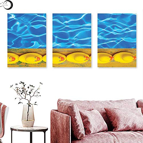 J Chief Sky Yellow and Blue Wall hangings Cute Rubber Ducks Lined Up Near The Pool Azure Water Fun Summer Triptych Wall Art Aqua Orange Yellow Triptych Art Canvas W 16