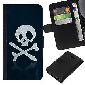All Phone Most Case / Oferta Especial Cáscara Funda de cuero Monedero Cubierta de proteccion Caso / Wallet Case for Sony Xperia M2 // Skull Pirate Sign Emblem Art Bones Slogan