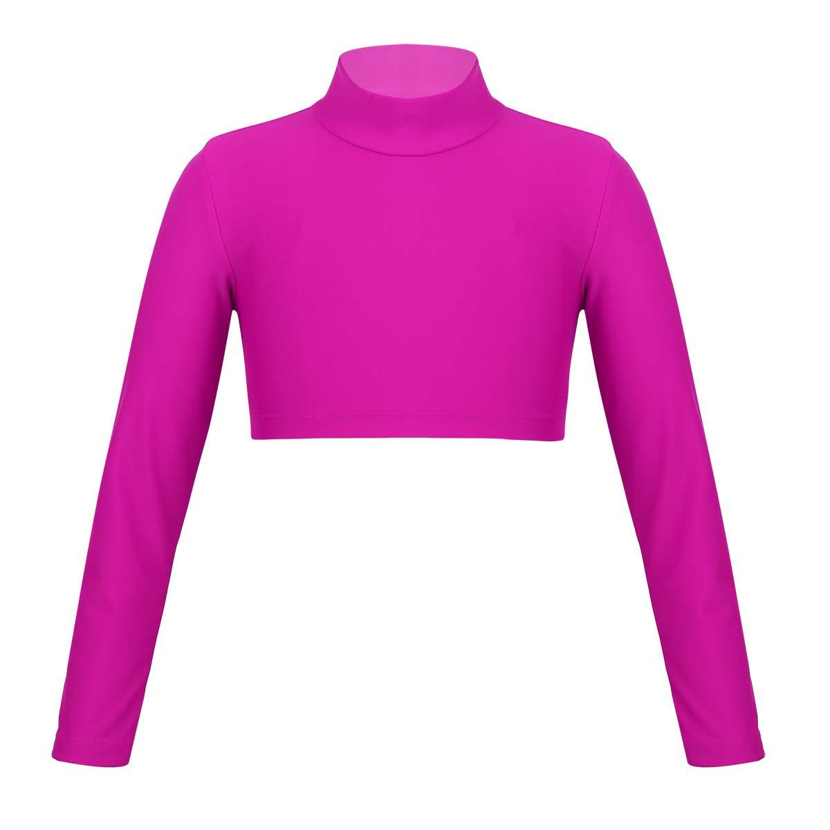 iiniim Kids Girls Mock Neck Sport Dance Crop Top Outfit Long Sleeve Stretch Workout Pullover T-Shirt Tops