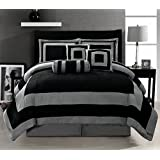 7 Pieces Black and Grey Micro Suede Comforter Set Bed-in-a-bag King Size Bedding